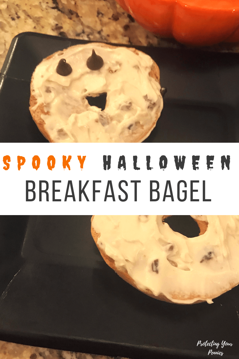 Spooky Halloween Breakfast Bagel - Easy and Healthy Halloween breakfast for kids. Fun way to celebrate the holiday with a non-candy treat.