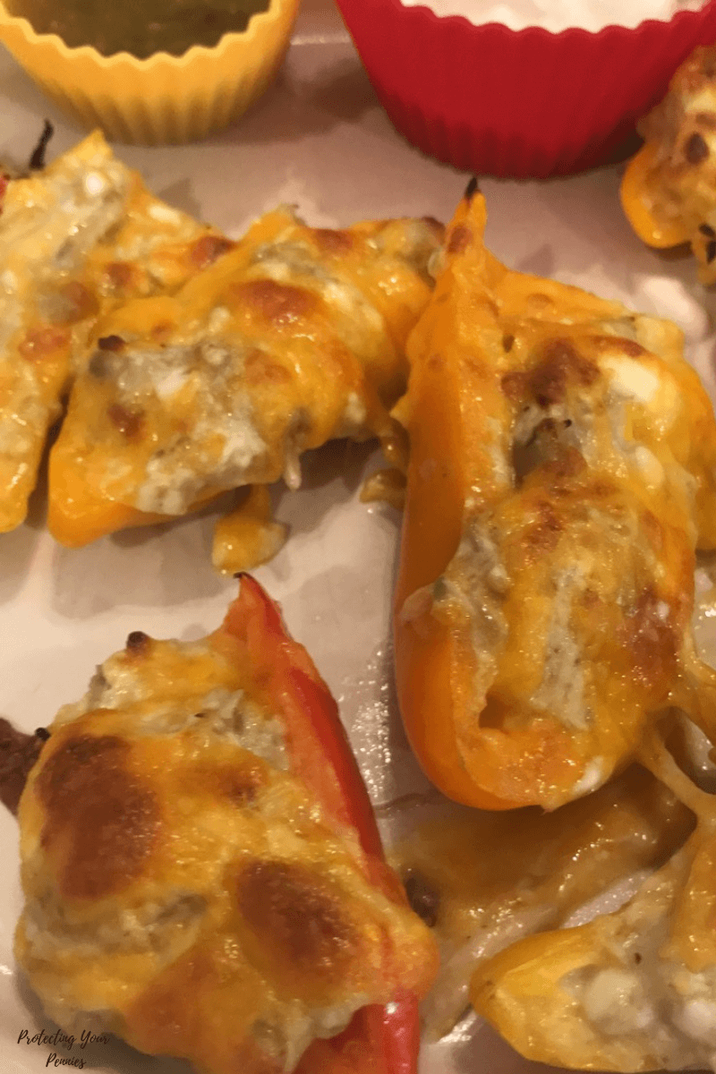 Salsa Verde Chicken Mini Bell Pepper Nachos for an easy Keto - Low Carb lunch or snack