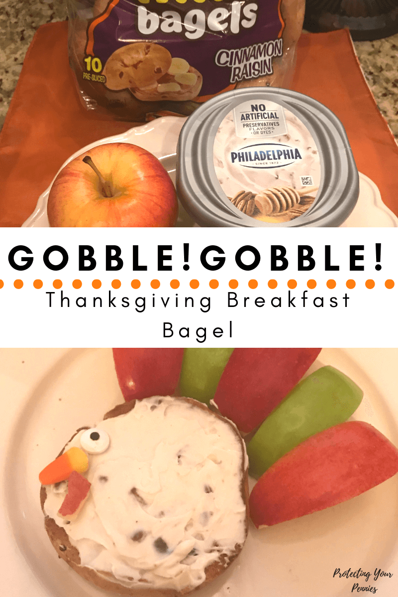 Thanksgiving Breakfast Bagel For Kids. Fun breakfast food ideas for kids to make holidays exciting!  Cute Turkey shaped breakfast food idea for young kids.
